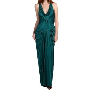 BCBG Maxazria Dark Teal Double Halter Neck Gown
